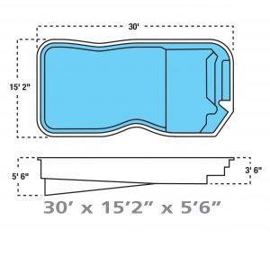 Plan piscine modèle F-10 par Piscine Fibro