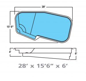 Plan piscine modèle F-12 par Piscine Fibro
