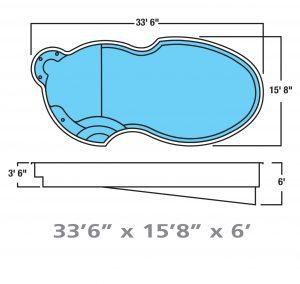 Plan piscine modèle F-14 par Piscine Fibro