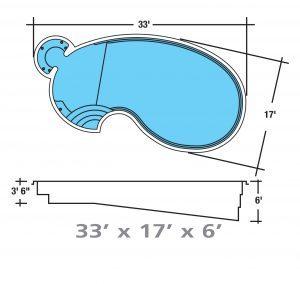 Plan piscine modèle F-15 par Piscine Fibro