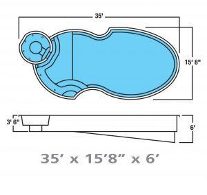 Plan piscine modèle F-16 par Piscine Fibro