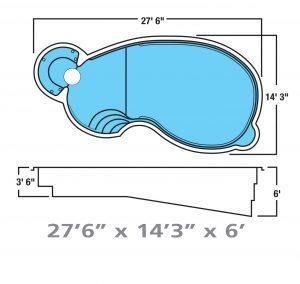 Plan piscine modèle F-18 par Piscine Fibro