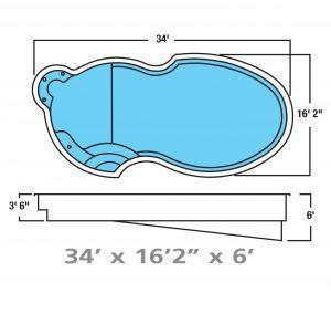 Plan piscine modèle F-19 par Piscine Fibro