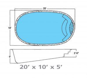 Plan piscine modèle F-2 par Piscine Fibro