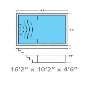 Plan piscine modèle F-20 par Piscine Fibro