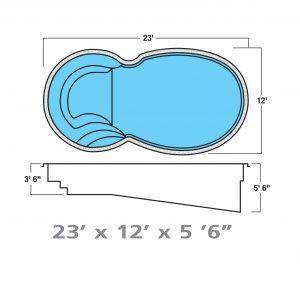 Plan piscine modèle F-21 par Piscine Fibro