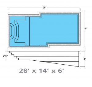 Plan piscine modèle F-22 par Piscine Fibro