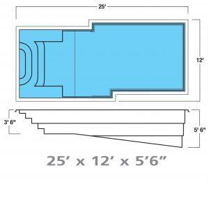 Plan piscine modèle F-23 par Piscine Fibro