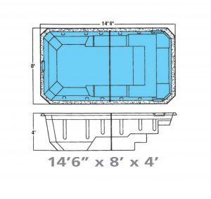 Plan piscine modèle F-5 par Piscine Fibro