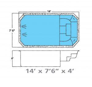 Plan piscine modèle F-6 par Piscine Fibro
