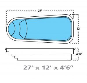 Plan piscine modèle F-7 par Piscine Fibro