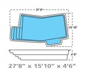 Plan piscine modèle F-8 par Piscine Fibro