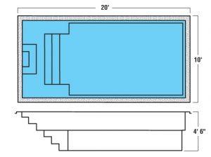 Plan piscine modèle F-24 par Piscine Fibro